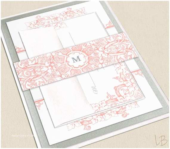Coral Wedding Invitations Items Similar to Intricate Floral Pink Coral Wedding