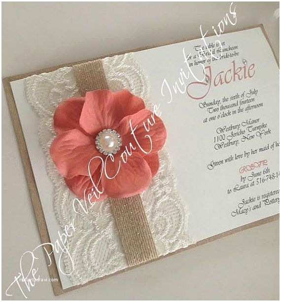 Coral Wedding Invitations Rustic Vintage Garden Lace Collection Invitation Burlap