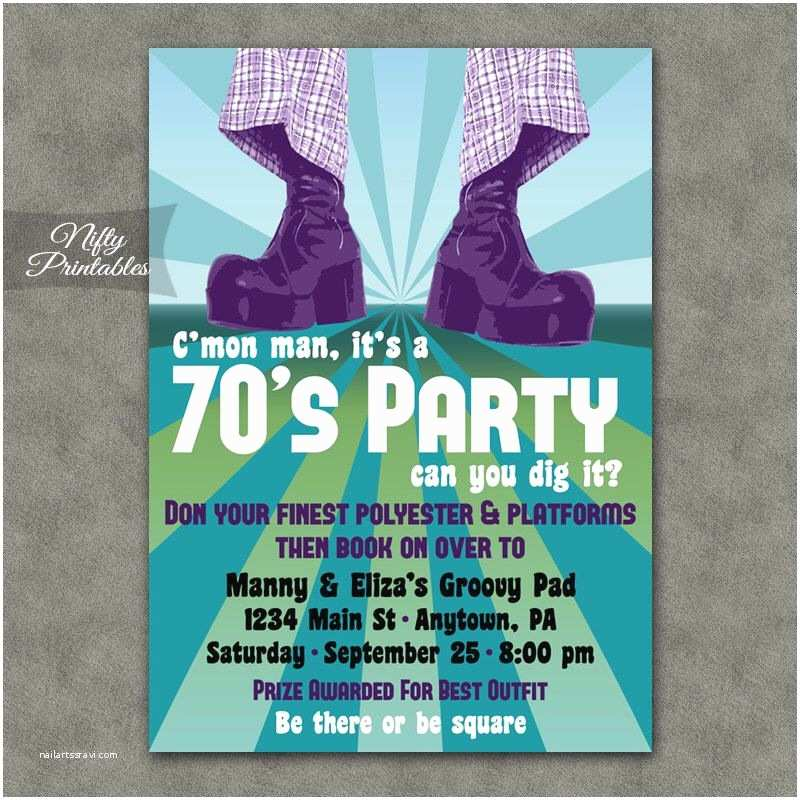 Costume Birthday Party Invitations 70 S Party Invitations Printable 1970s theme Party