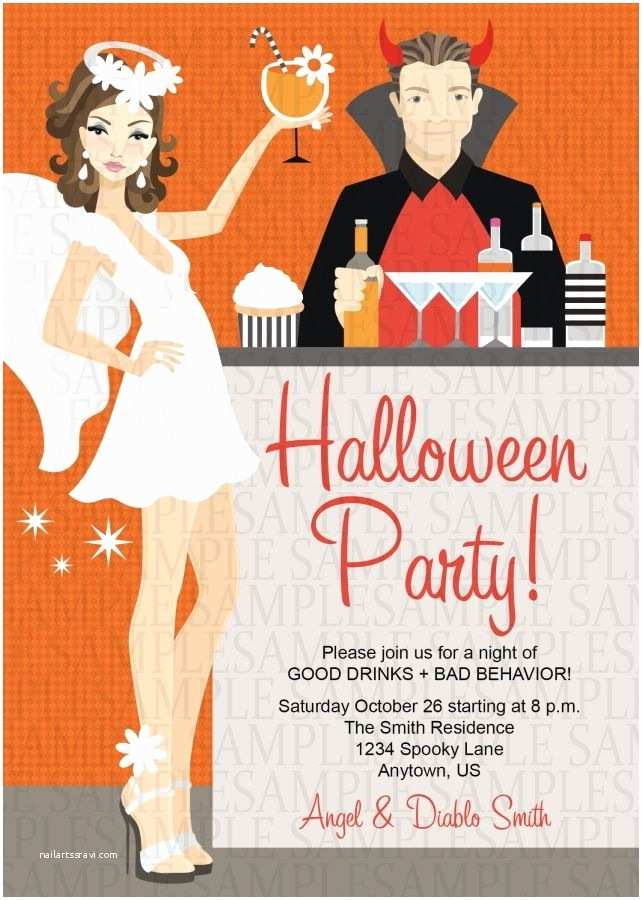 Costume Birthday Party Invitations Angel and Devil Halloween Costume Adult Birthday Party