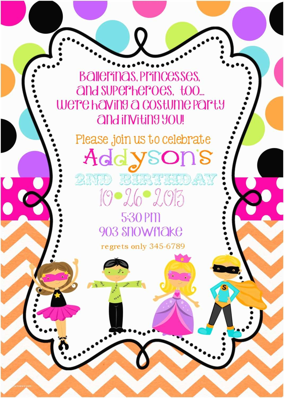 Costume Birthday Party Invitations Costume Birthday Party Invitations Printable or Digital File