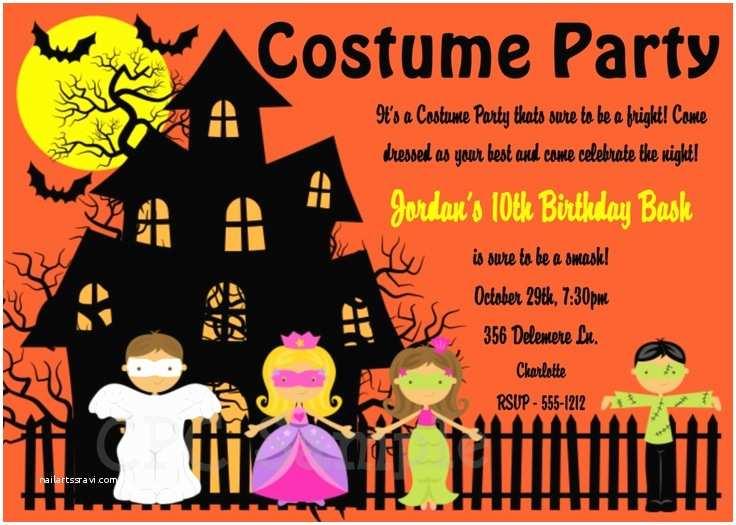 Costume Birthday Party Invitations Halloween Birthday Invitation Halloween Costume Party