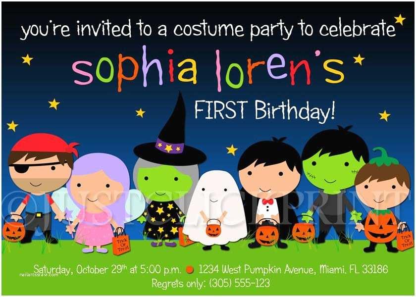 Costume Birthday Party Invitations Halloween Kids Birthday Party Invitations