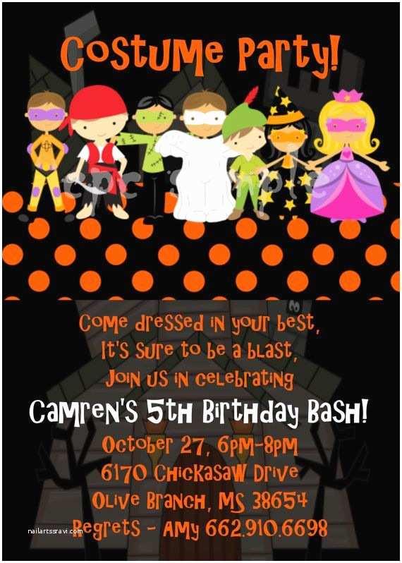 Costume Birthday Party Invitations Halloween Party Invitation Costume Party by