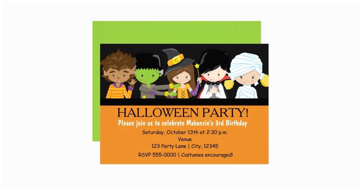 Costume Birthday Party Invitations Kids Halloween Costume Birthday Party Invitation