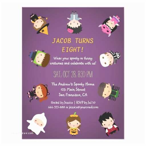 Costume Birthday Party Invitations Kids Halloween Costume Birthday Party Invitations