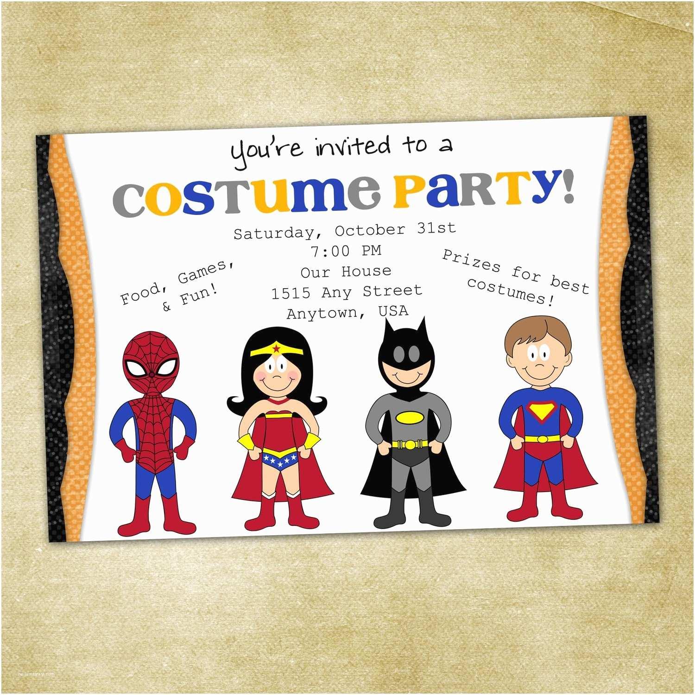 Costume Birthday Party Invitations Kids Superhero Costume Birthday Party Invitation Printable