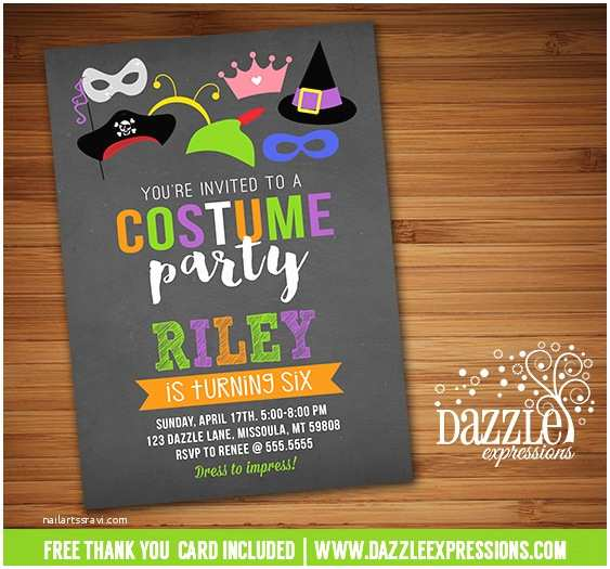 Costume Birthday Party Invitations Printable Costume Party Chalkboard Birthday Invitation