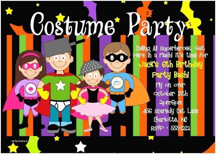 Costume Birthday Party Invitations Superhero Costume Party Halloween Birthday Invitations for