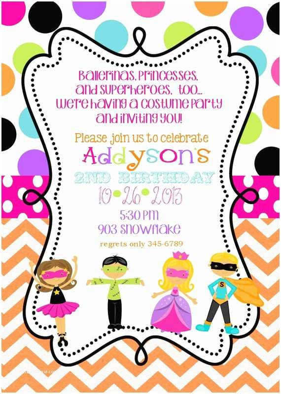 Costume Party Invitation Wording Costume Birthday Party Invitations Printable Or
