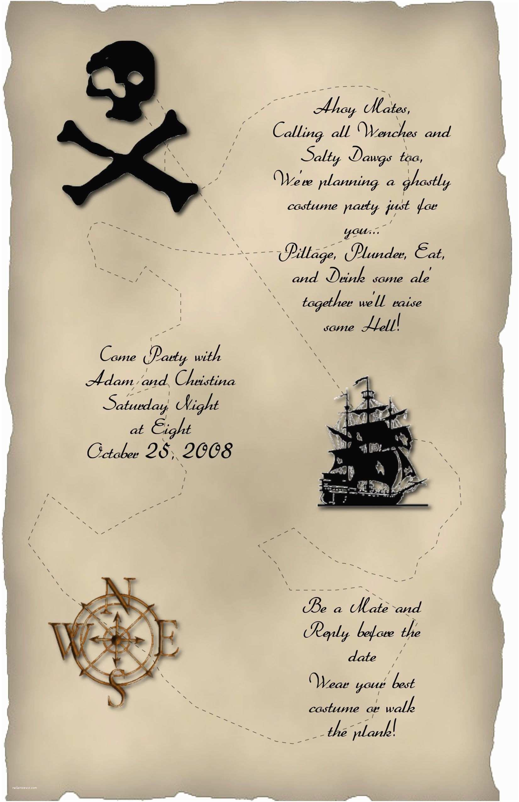 Costume Party Invitation Wording Halloween Invitation Wording Pirate