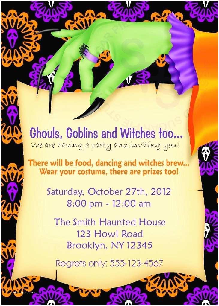 Costume Party Invitation Wording Printable Halloween Birthday Party Invitation
