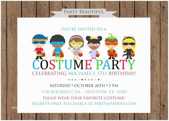 Costume Party Invitations Costume Party Birthday Invitation Boys Halloween Party