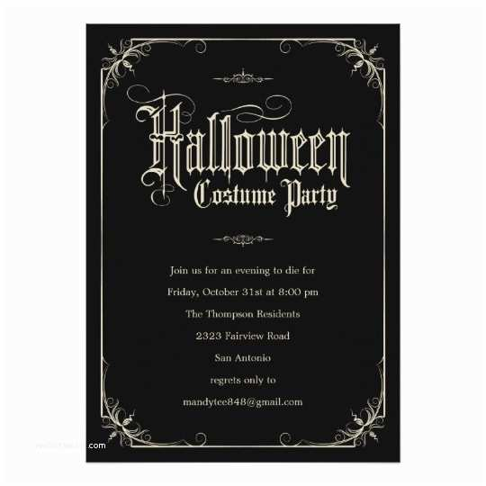 Costume Party Invitations Vintage formal Halloween Costume Party Invitations