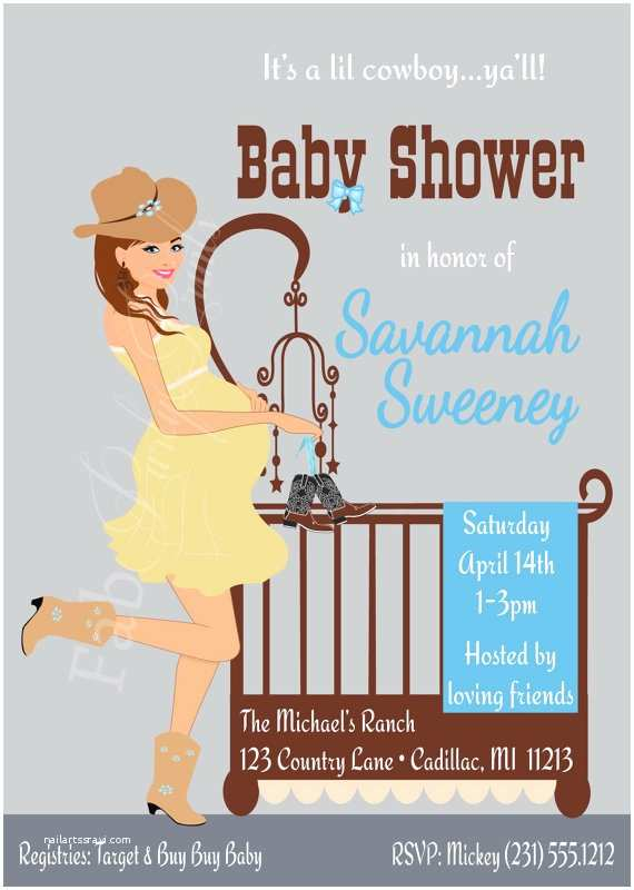 Country Baby Shower Invitations Cowboy Baby Shower Invitation Country Western Baby Boy