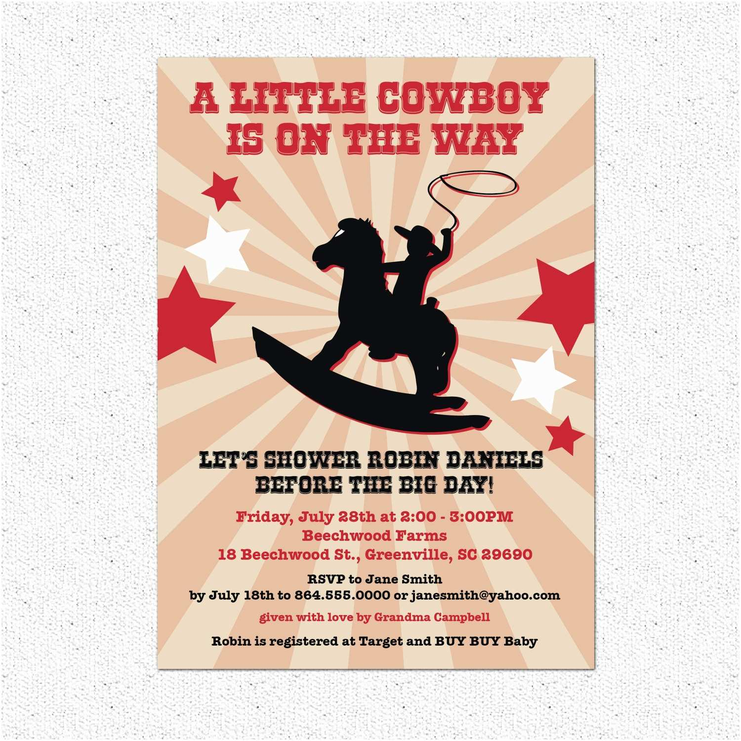 Country Baby Shower Invitations Cowboy or Cowgirl Country Western Baby Shower Invitations