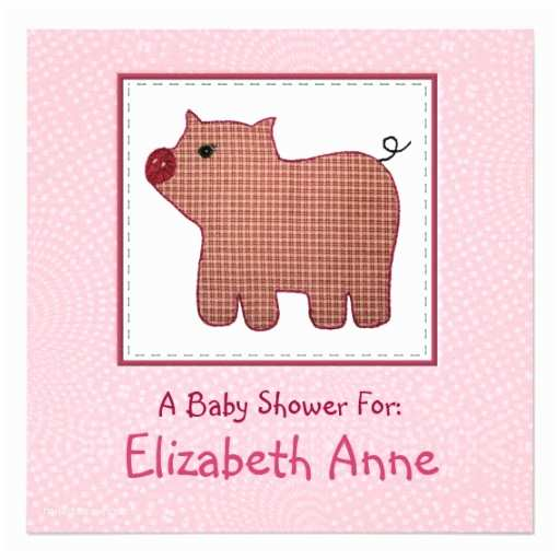 "Country Baby Shower Invitations Cute Country Style Pink Plaid Pig Baby Shower 5 25"" Square"
