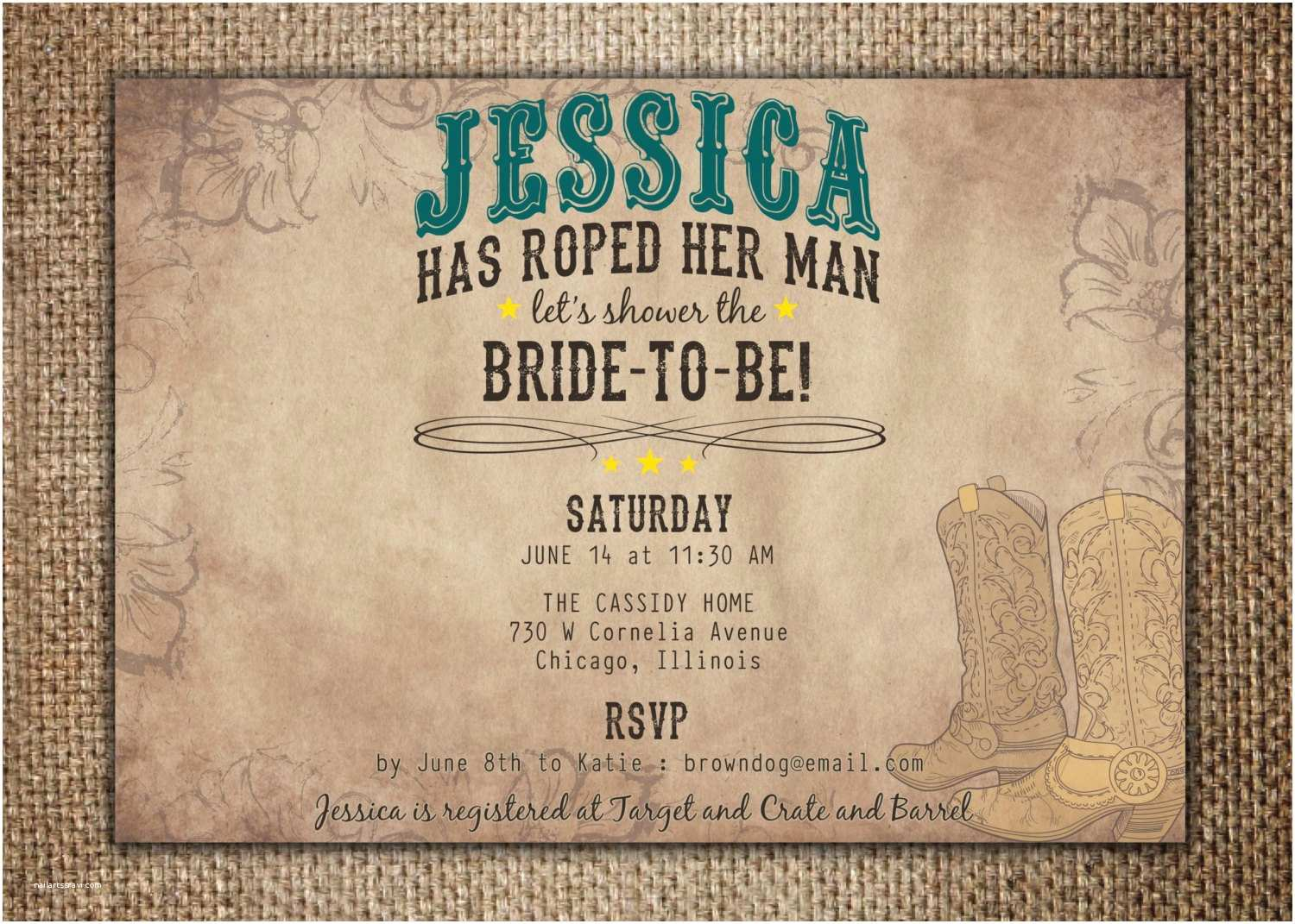 Country Bridal Shower Invitations Bridal Wedding Shower Invitation She S Roped Her Man