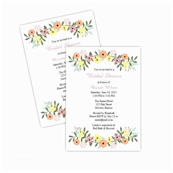 Country Bridal Shower Invitations Country Flowers Bridal Shower Invitations Diy Printable