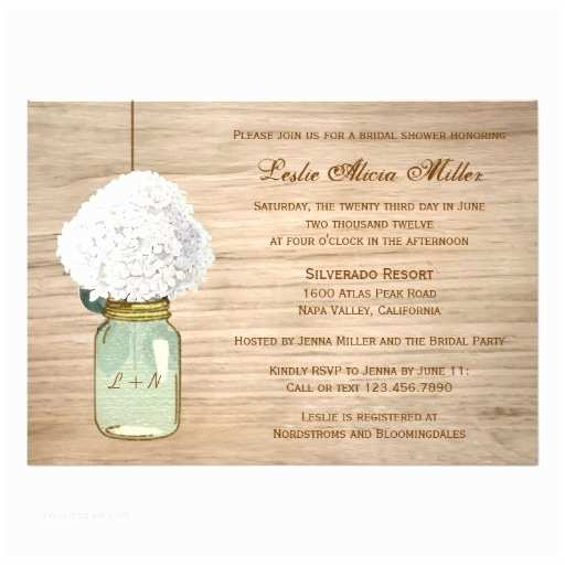 Country Bridal Shower Invitations Country Rustic Mason Jar Hydrangea Bridal Shower 5x7 Paper