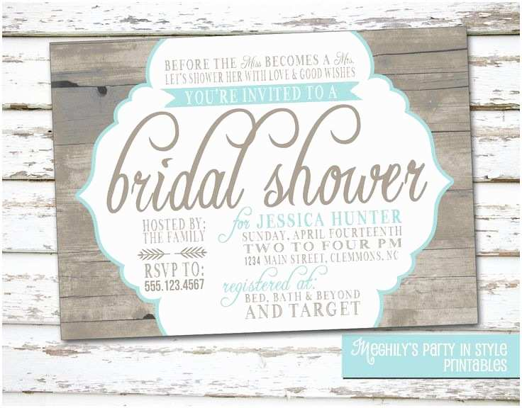 Country Bridal Shower Invitations Country Rustic theme Bridal Shower Invitation