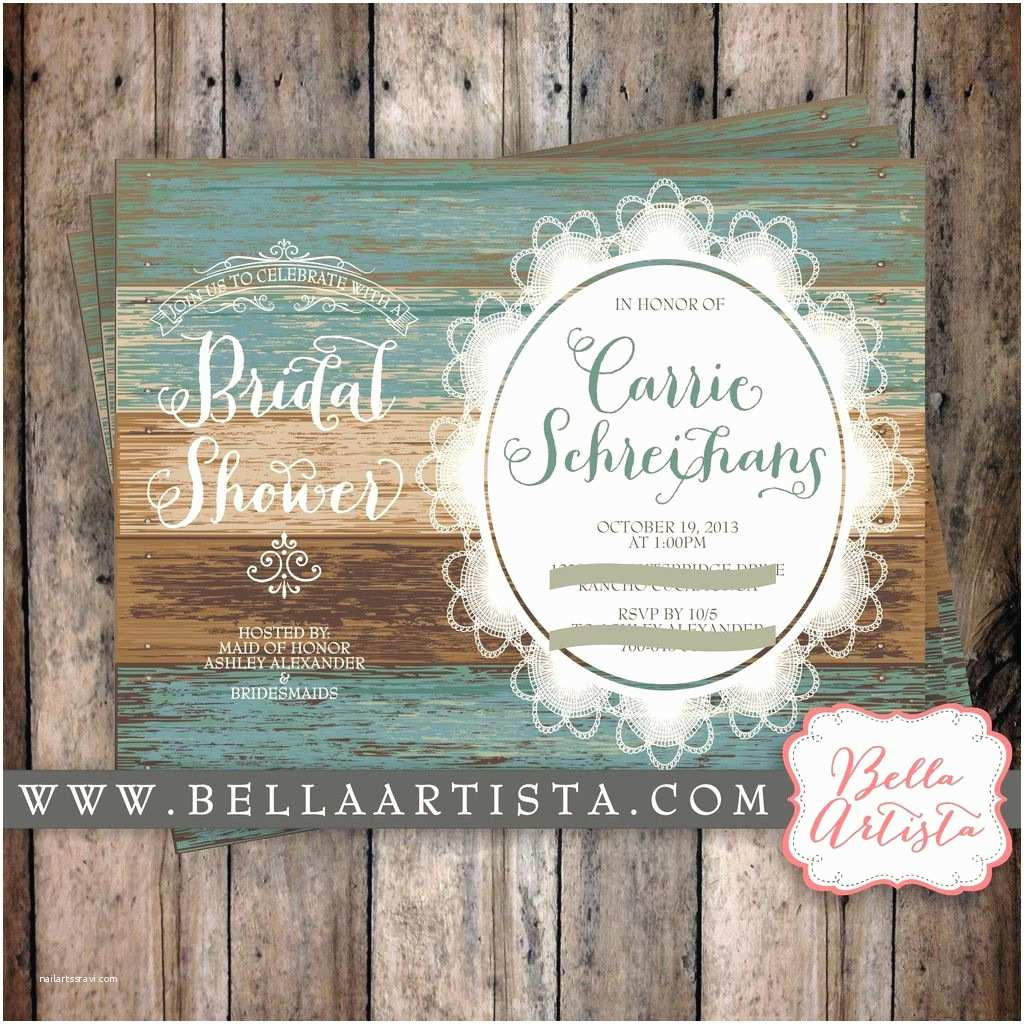 Country Bridal Shower Invitations Rustic Bridal Shower Invitation Country Chic Vintage Lace