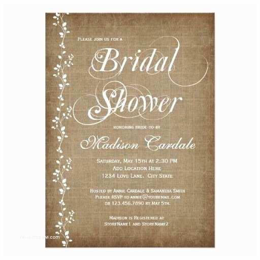 Country Bridal Shower Invitations Vintage Vines Rustic Bridal Shower Invitations