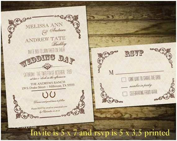 Country Chic Wedding Invitations Country Western Wedding Invitations Vintage by Notedoccasions