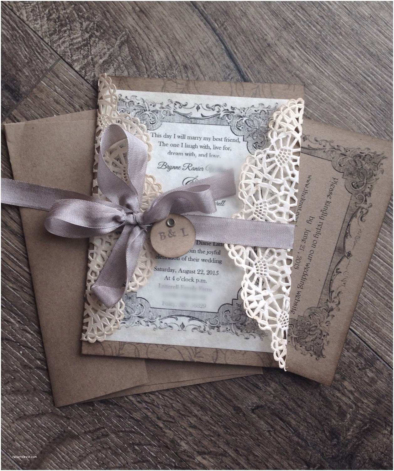 Country Chic Wedding Invitations Rustic Gray Lace Wedding Invitation Sample by Scrappyseahorse