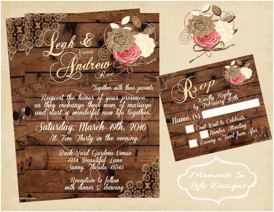 Country Chic Wedding Invitations Rustic Vintage Wedding Invitation Wedding Rustic Wedding
