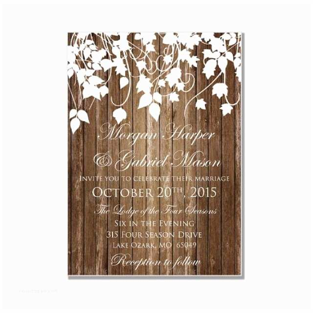 Country Chic Wedding Invitations Rustic Wedding Invitation Country Chic Hanging Leaves