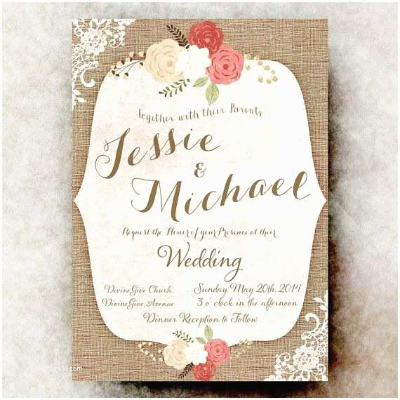Country Chic Wedding Invitations Rustic Wedding Invitation Lace Wedding Invitation