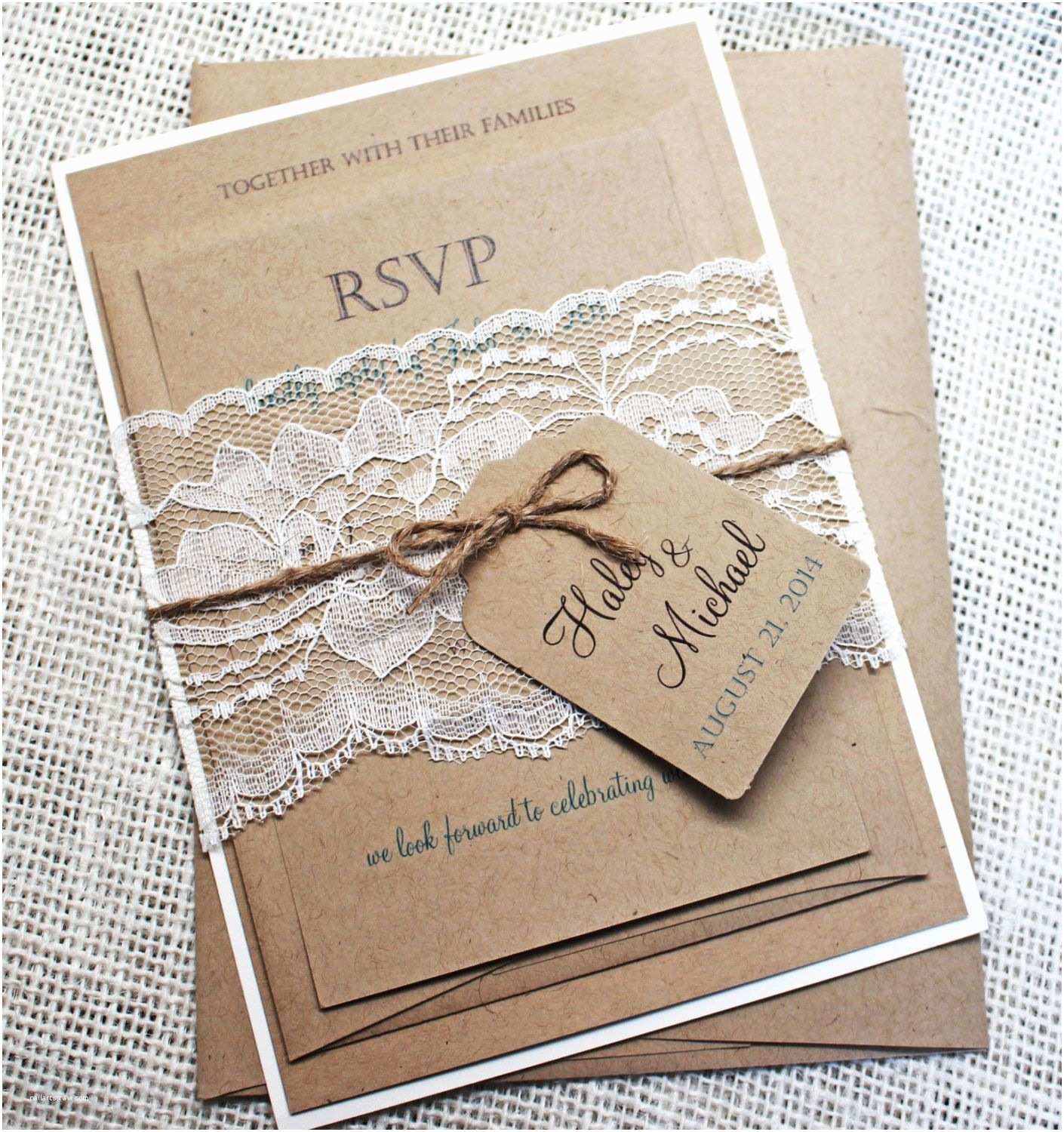 Country Chic Wedding Invitations Rustic Wedding Invitation Lace Wedding Invitation Rustic