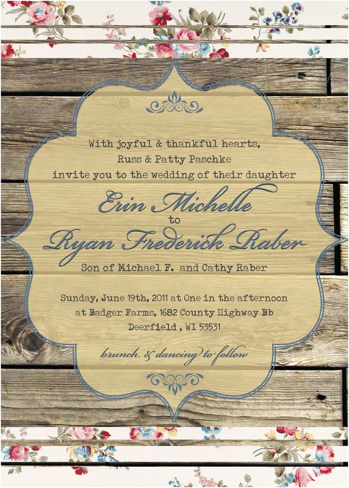Country Chic Wedding Invitations the Turquoise Penguin Country Chic Wedding Invitation