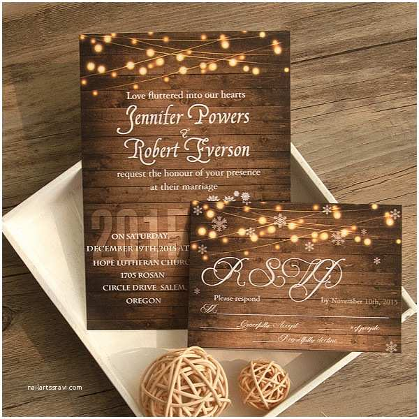 Country Rustic Wedding Invitations Cheap Rustic Wooden String Light Mason Jar Fall Wedding