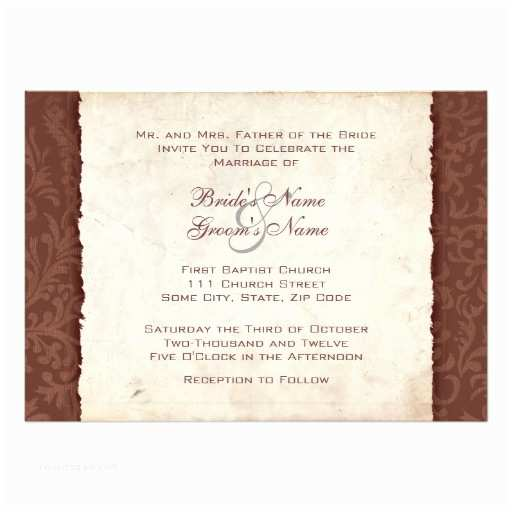 Country Rustic Wedding Invitations Chocolate Brown Country Wedding Invitation