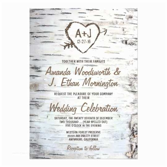 Country Rustic Wedding Invitations Country Rustic Birch Tree Bark Wedding Invitations