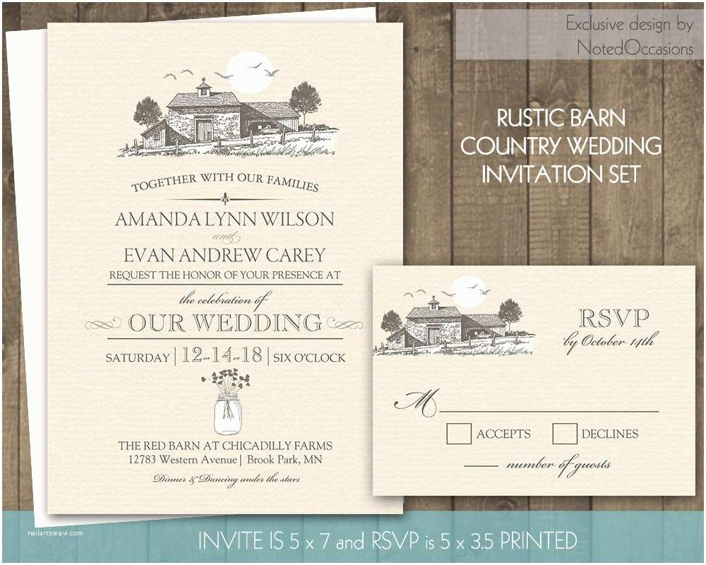 Country Rustic Wedding Invitations Country Wedding Invitation Outdoor Barn Wedding by