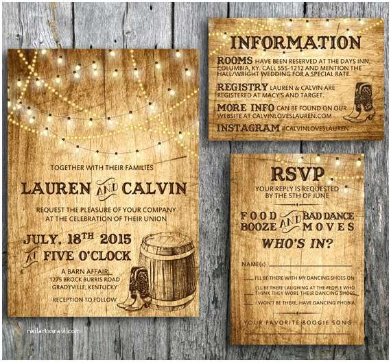 Country Rustic Wedding Invitations Country Wedding Invitation Suite with Lights and by