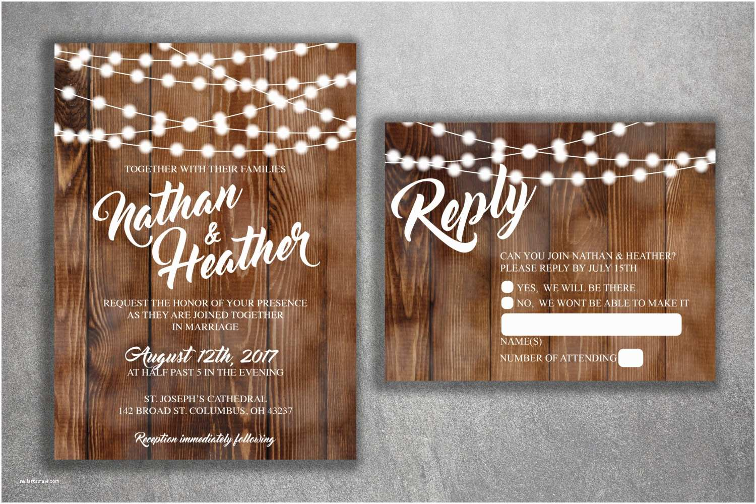 Country Rustic Wedding Invitations Country Wedding Invitations Set Printed Rustic Wedding