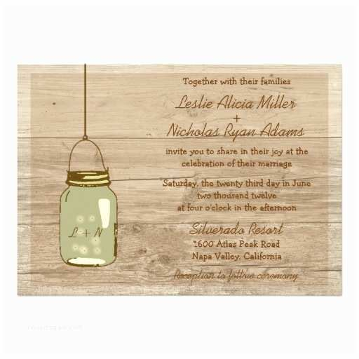 "Country Rustic Wedding Invitations Country Wooden Rustic Mason Jar Wedding Invitation 5"" X 7"