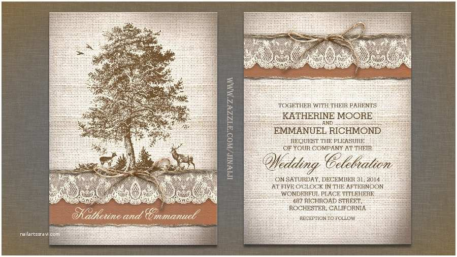Country Rustic Wedding Invitations Read More – Old Tree Burlap Lace Rustic Country Wedding