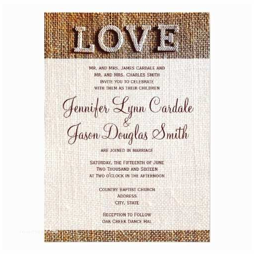 "Country Rustic Wedding Invitations Rustic Country Burlap Love Wedding Invitations 4 5"" X 6 25"