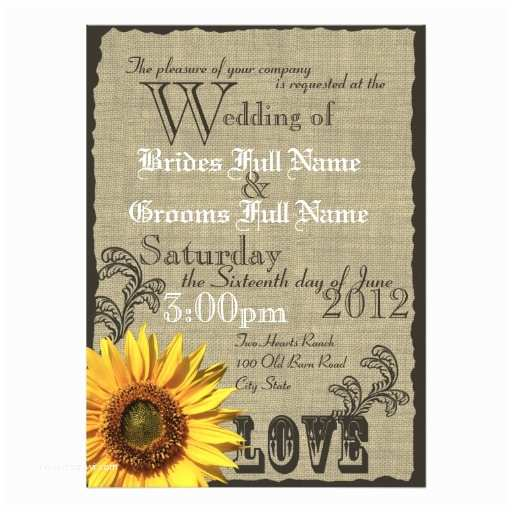 "Country Rustic Wedding Invitations Western Sunflower Rustic Country Wedding 5 5"" X 7 5"