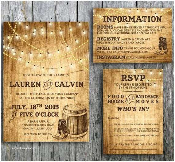 Country themed Wedding Invitations Love This Country Western themed Wedding Invitation Set