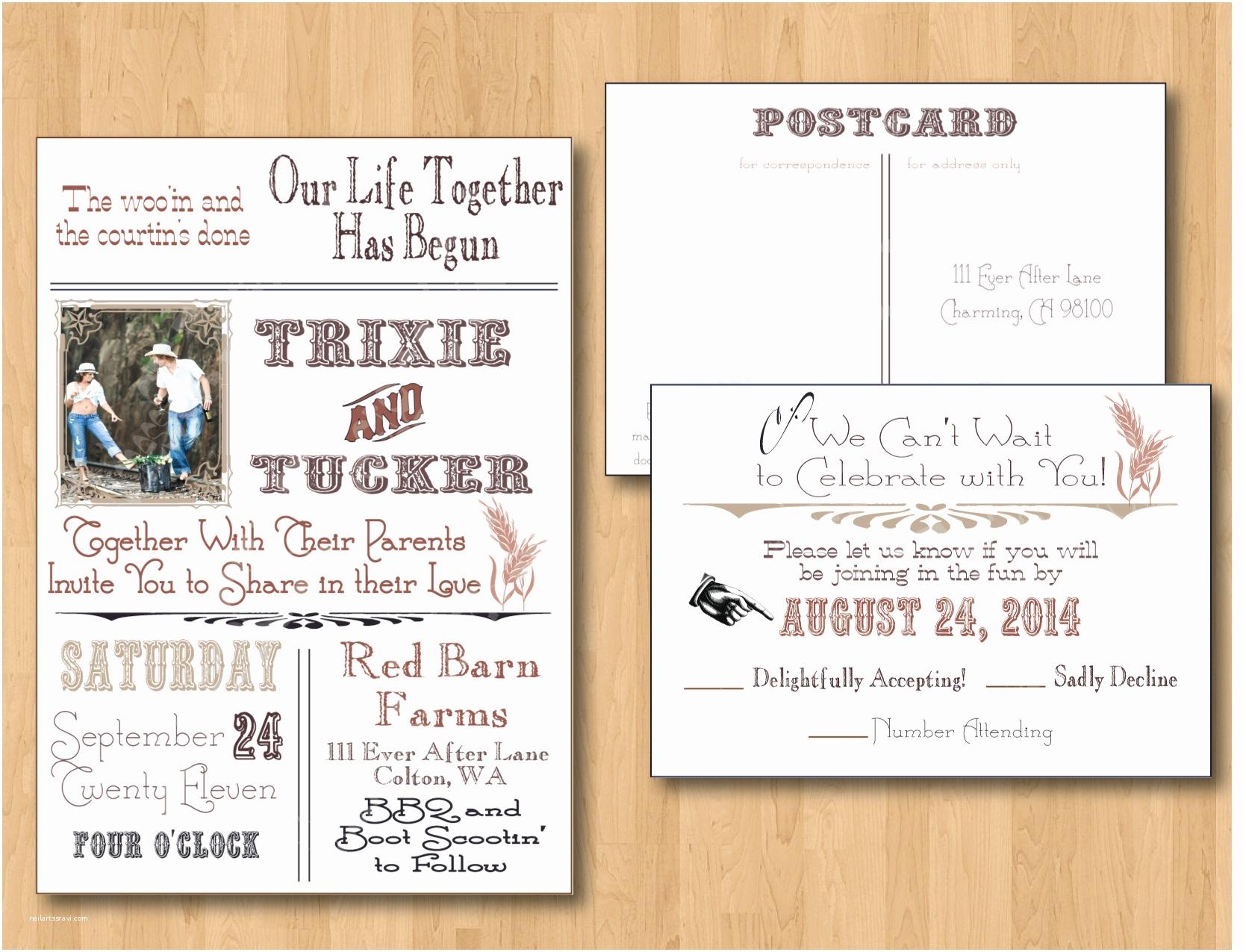 Country Wedding Invitations Country Wedding Invitation Wording