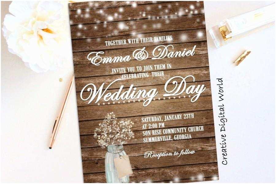 Country Wedding Invitations Rustic Wedding Invitation Printable String Lights Baby S