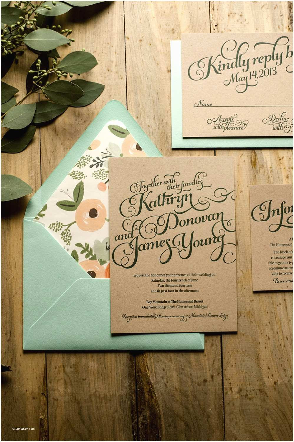 Country Wedding Invitations Typography Wedding Invitations