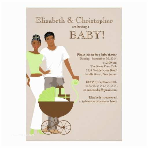 Couple Baby Shower Invitations African American Couple Gender Neutral Baby Shower