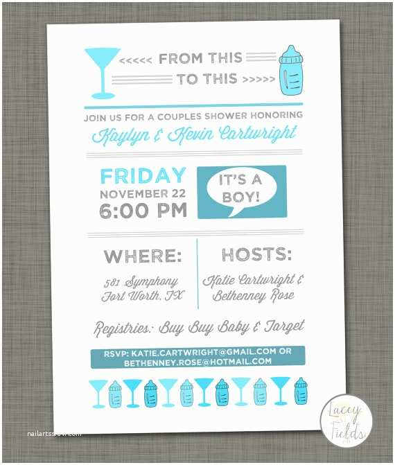 Couple Baby Shower Invitations Baby Shower Invite Cocktail Baby Shower From This to This Beer